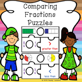 Greater Than Less Than Comparing Fractions Game Puzzles 3.NF.3 and 4.NF.2