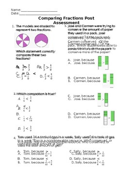 Comparing Fractions Quick Check