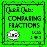 Comparing Fractions Quiz, Fourth Grade 4.NF.A.2 Assessment, Ordering Fractions