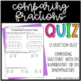 Comparing Fractions Quiz -- {{using like numerators or like denominators}}