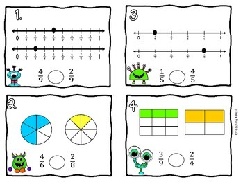 3rd Grade Comparing Fractions Scoot