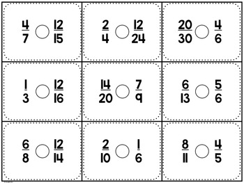 Comparing Fractions Sort