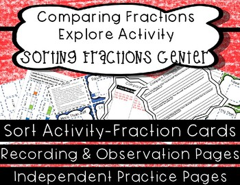 Comparing Fractions Sort Center- Challenge & Extra Support Materials Included!