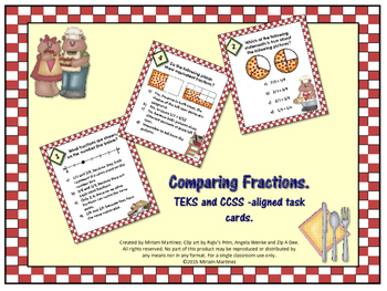 Comparing Fractions. STAAR and CCSS aligned task cards.