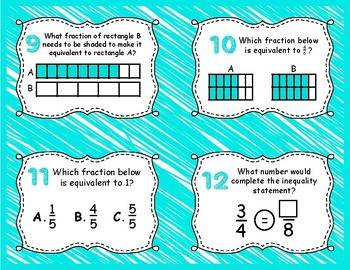 Comparing Fractions Task Cards 3.NF.3