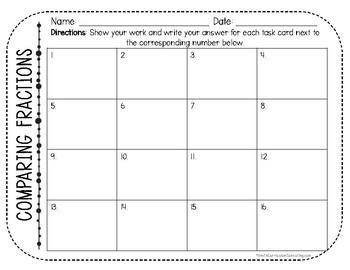 Comparing Fractions Task Cards   TEKS 4.3d   TEKS 6.2c   Math Intervention