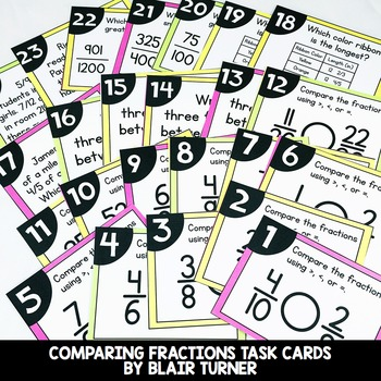 Comparing Fractions Task Cards: 4th Grade Math Centers 4.NF.2