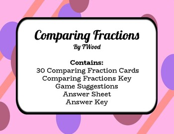 Comparing Fractions - 30 Task Cards - Color and Black/White