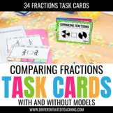 Comparing Fractions Task Cards: Compare fractions with & without models
