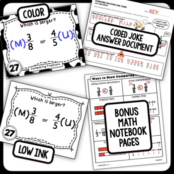 Comparing Fractions Task Cards (Cow Joke Edition) - with unique coded answers