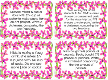 Comparing Fractions Task Cards Go Math Aligned