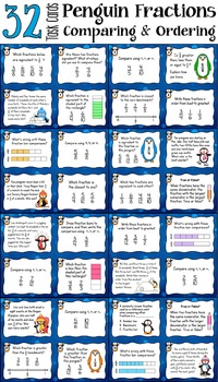 Comparing Fractions Task Cards (Penguin Fractions)