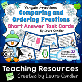 Comparing Fractions Task Cards - Short Answer (Penguin Fractions)