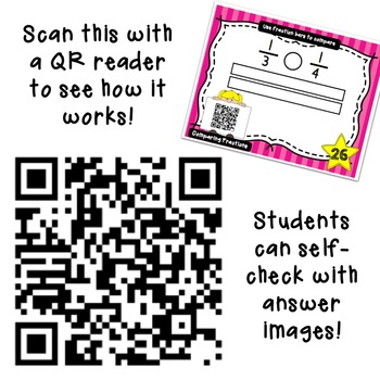 Comparing Fractions Task Cards - QR Code Version - 4 ways to compare