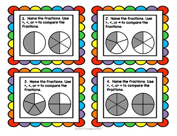 Comparing Fractions Task Cards and Quick Check