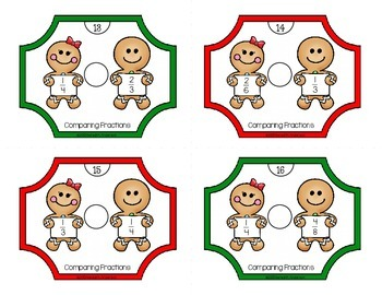 Gingerbread Math Activities for 3rd Grade: Comparing Fractions Task Cards & More