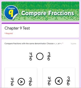 Comparing Fractions Test - (Go Math 3rd Grade Chapter 9)