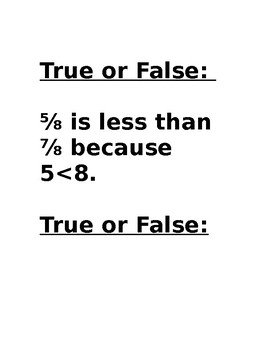 Comparing Fractions True or False Activity