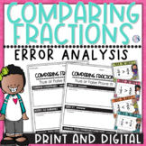 Comparing Fractions Task Cards Error Analysis | Print & Digital