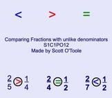 Comparing Fractions Unlike Denominators Smartboard Math Lesson