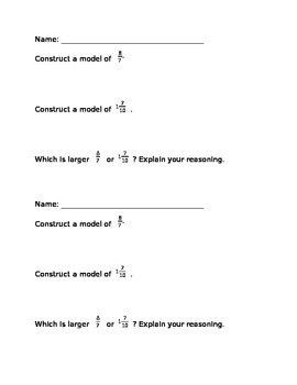Comparing Fractions Using Models Exit Slip/Do Now EDITABLE