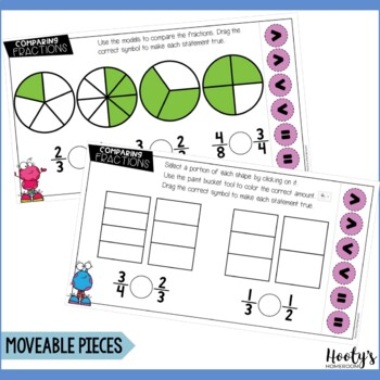 Comparing Fractions Using Pictorial Models Paperless Practice - Google Apps