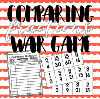 Comparing Fractions War Card Game