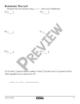 Comparing Fractions With Cross Multiplication Math Video and Worksheet