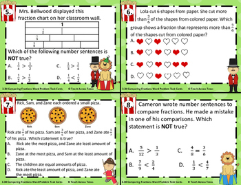 3.3H Comparing Fractions Word Problem Task Cards STAAR