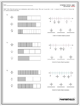 image regarding Printable Fraction Bars referred to as Evaluating Fractions Worksheets - With Portion Bars and Selection Strains!