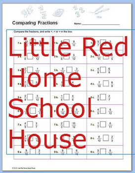Comparing Fractions Worksheet with Answer Key for 4th,5th,6th Grades