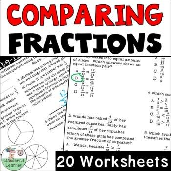 Comparing Fractions Worksheets No Prep (TEKS 4.3D, CCSS.4.NF.A.2)