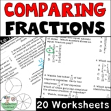 Comparing Fractions 20 Worksheets No Prep TEKS 4.3D, CCSS.