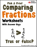 Greater Than Less Than Fractions, Comparing Fractions Worksheets