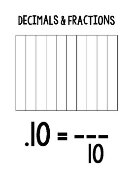 Comparing Fractions and Decimals Poster Activity