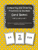 Comparing Fractions and Decimals Card Games