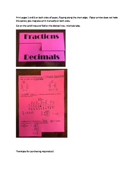 Comparing Fractions and Decimals Folder