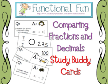 Comparing Fractions and Decimals Study Buddy Cards