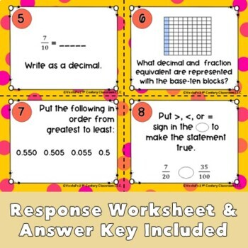 Comparing Fractions and Decimals Task Cards