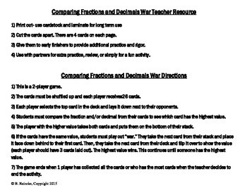 Comparing Fractions and Decimals War Card Game