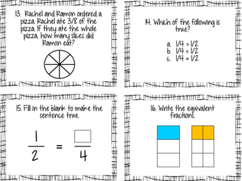 Comparing Fractions and Equivalence Task Cards, 3NF3