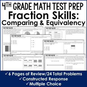 Comparing Fractions and Equivalent Fractions - 4th Grade Test Prep (No Prep)