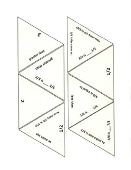 Comparing Fractions and Equivalent Fractions Game Puzzle with Worksheet