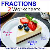 Comparing Fractions and Estimating Fractions Worksheets