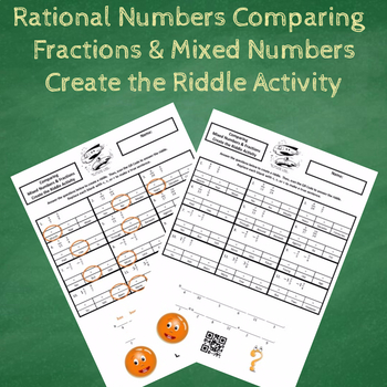 Comparing Fractions and Mixed Numbers with Negatives Create the Riddle Activity
