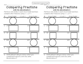 Comparing Fractions cut and paste