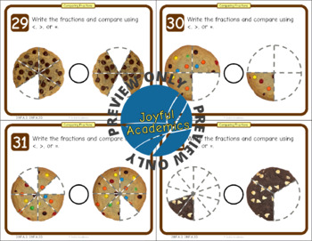 Comparing Fractions of a Whole Cookie Task Cards