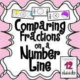Comparing Fractions on a Number Line Math Worksheet Set