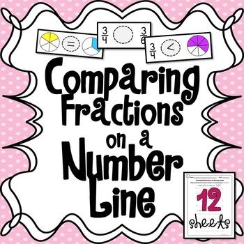 Comparing Fractions on a Number Line Math Worksheet Set
