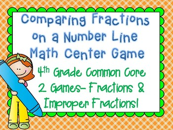 Comparing Fractions on a Number Line Math Center Game 4th Grade Common Core